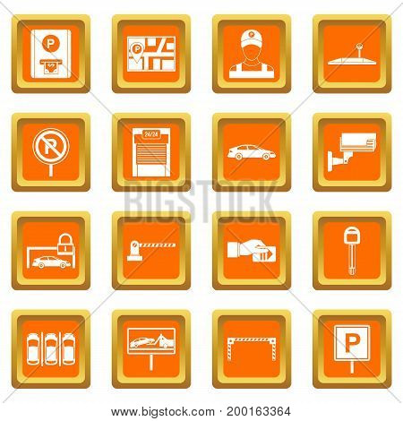 Car parking icons set in orange color isolated vector illustration for web and any design