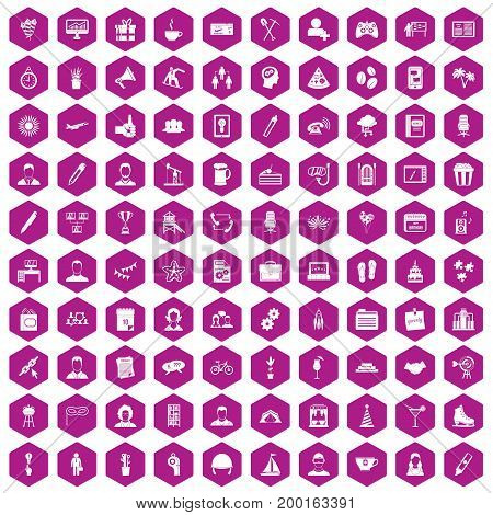 100 team building icons set in violet hexagon isolated vector illustration