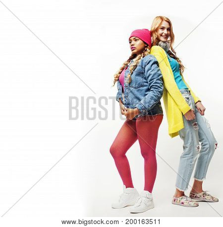 happy smiling diverse girls group, teenage friends company cheerful having fun cute posing isolated on white background, lifestyle  mixed races people concept, african and caucasian