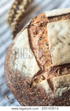 Close-up of Whole Wheat Sourdough Bread on a gray kitchen towel