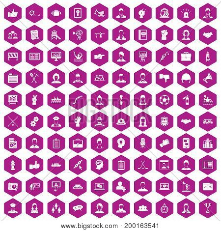 100 team work icons set in violet hexagon isolated vector illustration