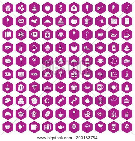 100 tea party icons set in violet hexagon isolated vector illustration