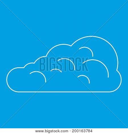 Cumulus cloud icon blue outline style isolated vector illustration. Thin line sign