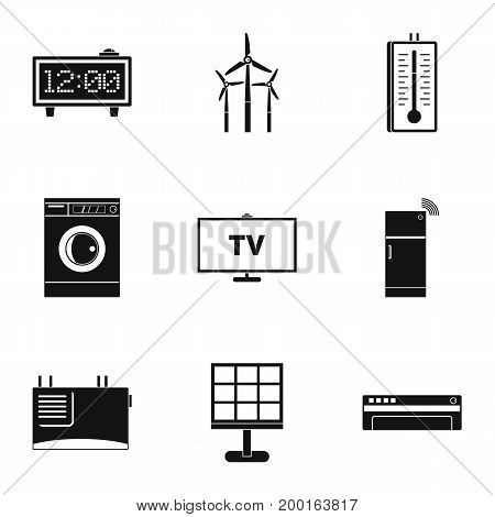 Smart home icon set. Simple style set of 9 smart home vector icons for web isolated on white background