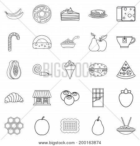 Delicious icons set. Outline set of 25 delicious vector icons for web isolated on white background