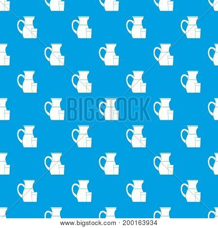 Jug of milk pattern repeat seamless in blue color for any design. Vector geometric illustration