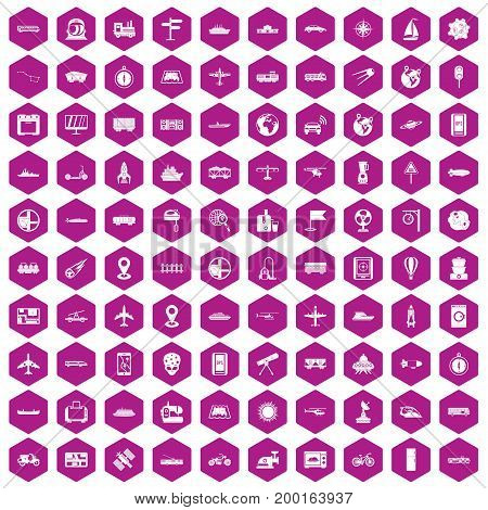 100 technology icons set in violet hexagon isolated vector illustration