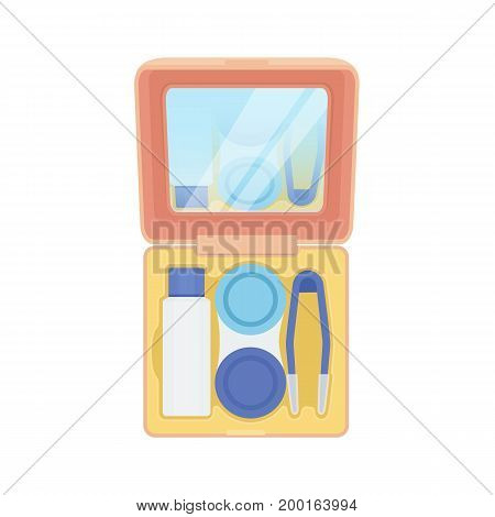 Contact lenses care kit for travel with a mirror drops tweezers and a container. Vector illustration.