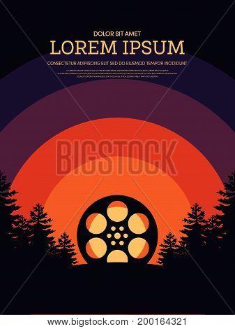 Movie and film modern retro vintage poster background vector illustration