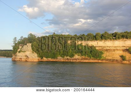 Miners Castle, a rock formation in Pictured Rocks National Lakeshore, Upper Peninsula of Michigan
