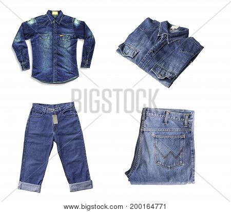 Group of denim jeans isolated on white background