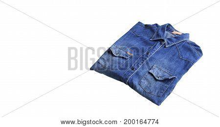 Denim shirt jeans isolated on white background