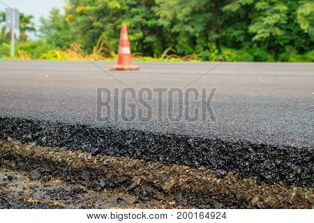 Close up road asphalt at under construction site