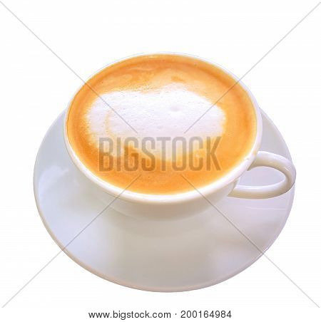 Cappuccino Cup put on dark wooden background
