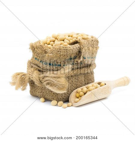 Soybean In Burlap Bag Isolated On White Background
