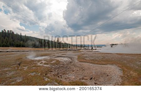 Steam vapor rising off Black Warrior hot springs geyser and Hot Lake in Yellowstone National Parks Lower Geyser Basin in Wyoming United States