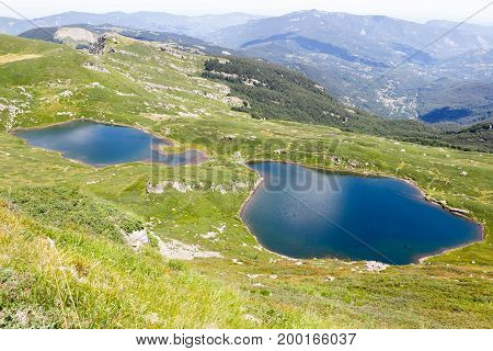 a sunny day in appennini show a beautiful landscapes of glacial lakes