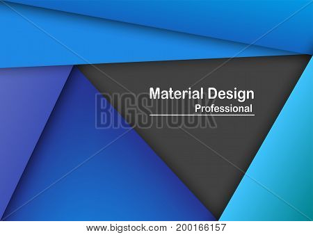 Abstract Modern Material Design Background In Blue Tone With Text Space.