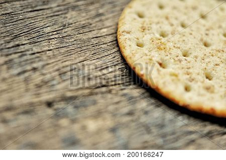 cracker background , texture of cracker on the wooden background