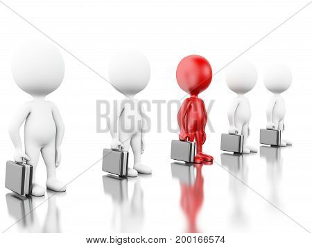 3D Illustration. Red Businessman Standing Among White People