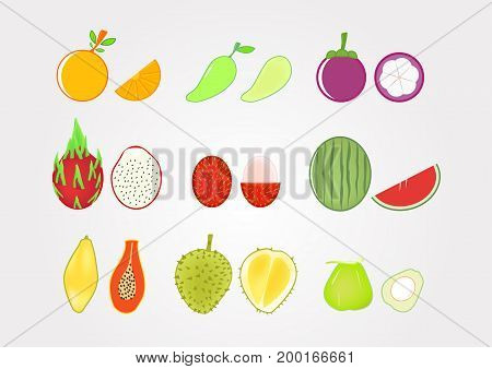 Fruits With Fruit Pulp On Gradient Grey Background.