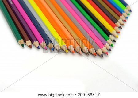 Colorful pencils with close-up.Use drawing for beautiful art.