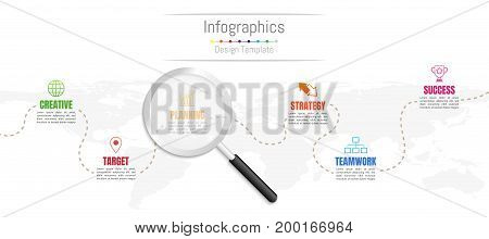 Infographic design elements for your business data with 6 options parts steps timelines or processes and transparent magnifying glass.World map of this image furnished by NASA Vector Illustration