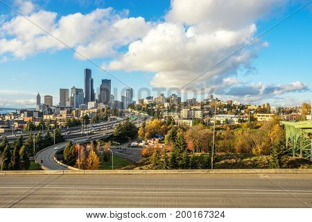 cityscape of los angeles and busy elevated road