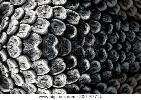 close up of texture of sculpture fish scales stone carving sculpture abstract background
