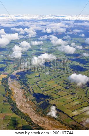 Aerial view of the Hurunui River and North Canterbury Plains with the Southern Alps of the South Island in the background   New Zealand