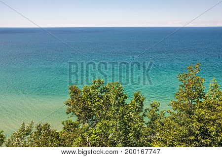 Lake Michigan with its beautiful shades of blue and green