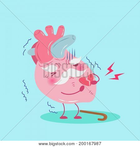 cute cartoon heart on the green background