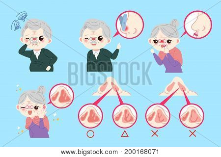 old peopele with nose problem on the blue background