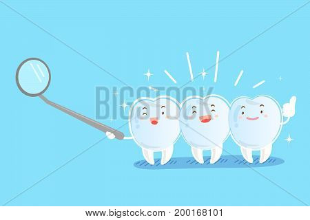 tooth with invisible braces on the blue background