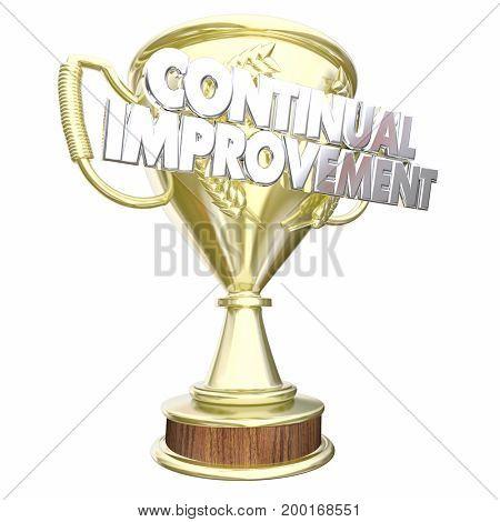 Continual Improvement Trophy Award Prize 3d Illustration