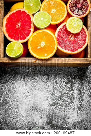 Citrus Background. Fresh Citrus Fruit In An Old Box.