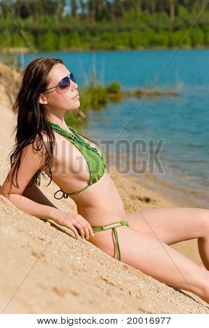 Summer Woman In Bikini Alone On Beach