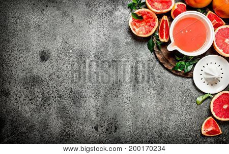 Freshly Squeezed Grapefruit Juice With Fruit Pieces.