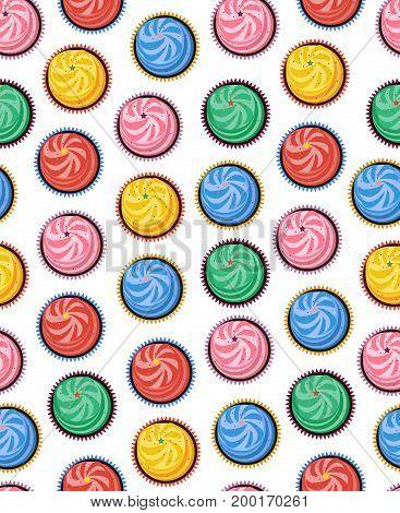 Multicolored vector illustration Seamless background, cream cakes