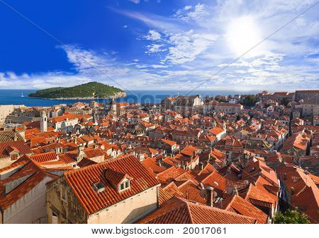 Town Dubrovnik In Croatia At Sunset