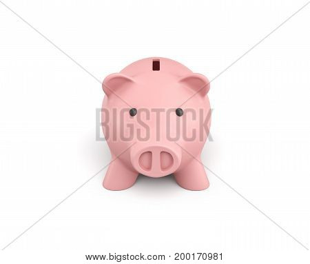 3d rendering of a pink ceramic piggy bank isolated on white background. Money and savings. Personal banking. Childrens allowance.