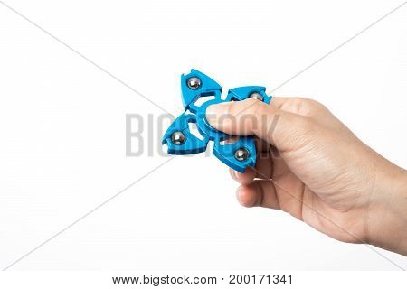 finger spinner stress anxiety relief toy on white background.