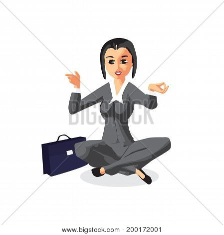 Business woman sitting in yoga pose. Tranquility and endurance in business. Vector flat design illustration isolated on white background