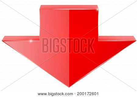 Red shiny DOWN arrow. 3d icon. Vector illustration isolated on white background