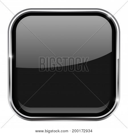 Black square button. Shiny 3d icon with metal frame. Vector illustration isolated on white background
