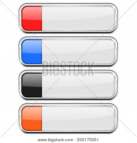 White buttons with colored tags. Menu interface elements with metal frame. Vector 3d illustration isolated on white background