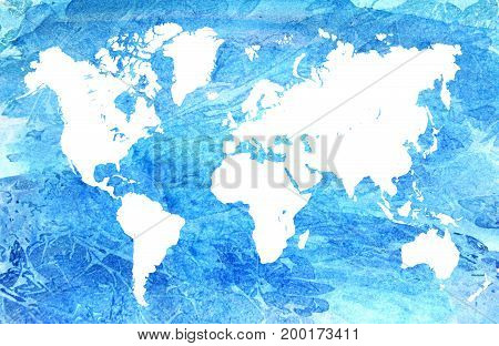 Watercolor map of the world. Beautiful blue abstract background.