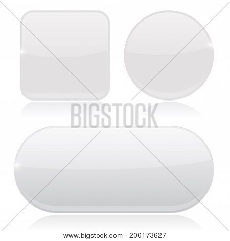 White buttons. Round, square and oval shiny icons. Vector 3d illustration