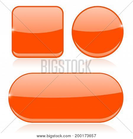 Orange buttons. Round, square and oval shiny icons. Vector 3d illustration