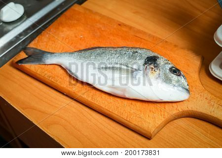 Raw Bream Fish On Board